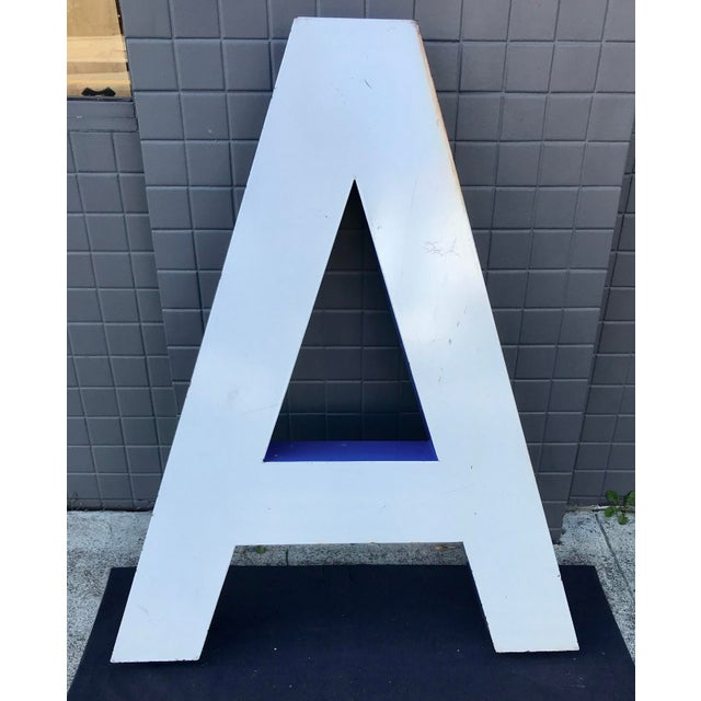 """A large vintage Blue and White enameled """"A"""" outdoor building signage. Same as the letters you would find on old commercial..."""