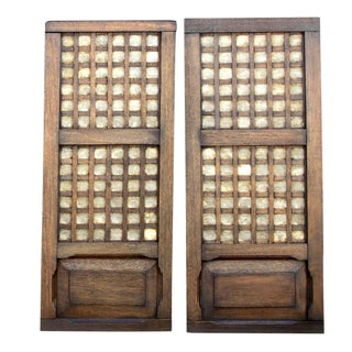 Pair of Vintage Sumatran Capiz Window Shutters For Sale
