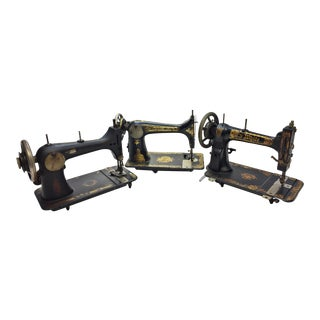 Vintage Industrial Cast Iron Sewing Machines - Lot of 3