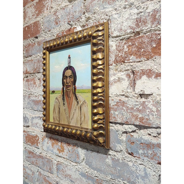 Joseph Hoffman -Portrait of Chief Joseph -Native American Oil Painting For Sale In Los Angeles - Image 6 of 9