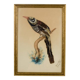 1910 Mexican Feathercraft Folk Art Watercolor Painting For Sale