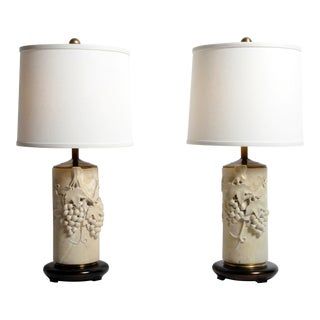 Marble Stone Botticino Style Table Lamps - a Pair For Sale