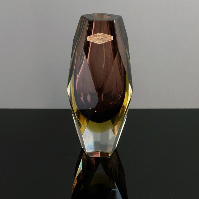 1960s Vintage Luigi Mandruzzato Pentagonal Amethyst Diamond Cut Block Vase For Sale - Image 9 of 12