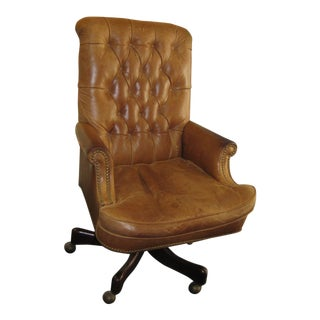 Hickory Chair Tufted Leather Desk Chair For Sale