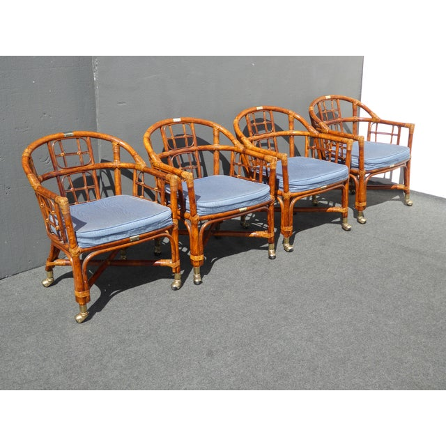 Mid-Century Modern Bamboo & Rattan Arm Chairs - 4 - Image 3 of 11