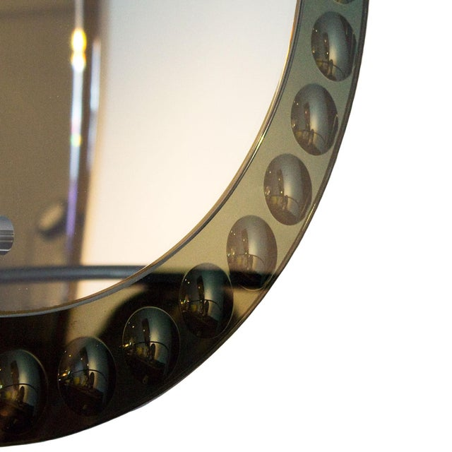 1950s Round Mirror, Intaglio Grey-Green Mirror Frame - Italy For Sale - Image 6 of 7