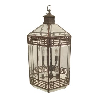 Contemporary Hanging Art Deco Octagonal Lantern - Bronze With Beveled Glass Panels For Sale