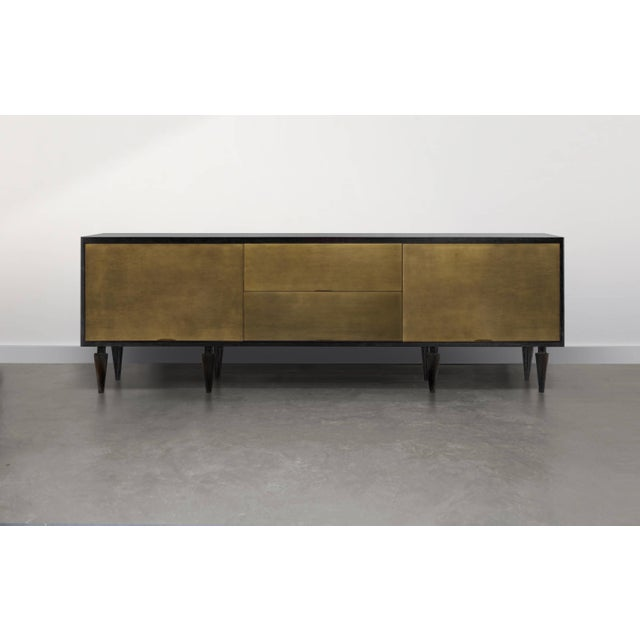 Contemporary Solid Brass and Ebonized Walnut Credenza For Sale - Image 3 of 4