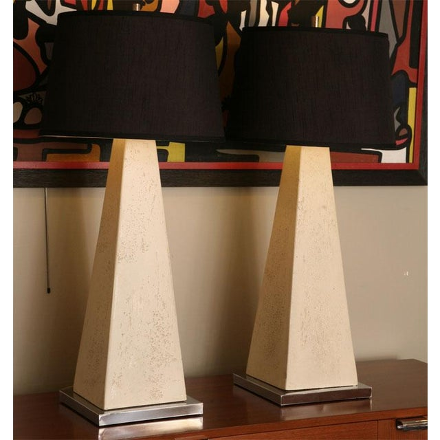 Mid-Century Modern 1970s Hollywood Regency Obelisk Table Lamps - a Pair ( No Shades). For Sale - Image 3 of 12