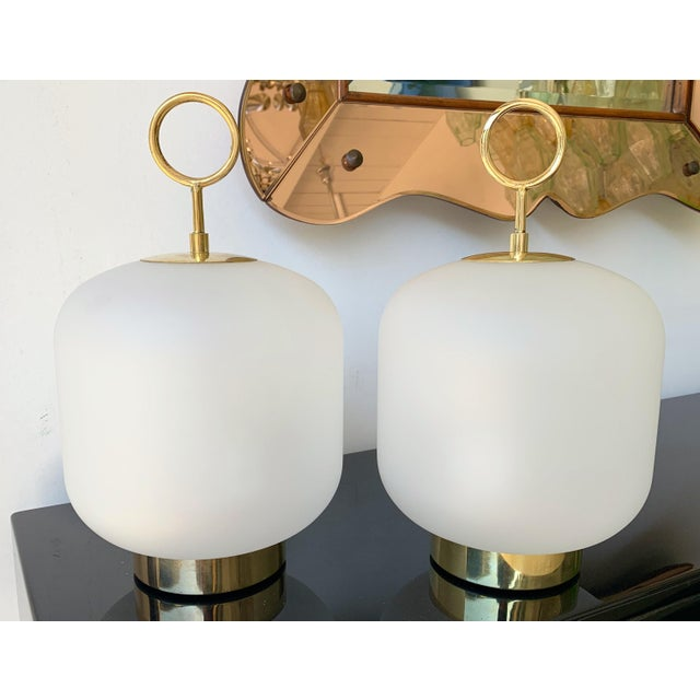 Contemporary Murano Glass Brass Ring Medium Can Lamps - a Pair For Sale - Image 13 of 13