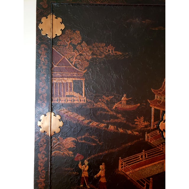 Wood Maitland Smith Chinoiserie Entertainment Cabinet For Sale - Image 7 of 12