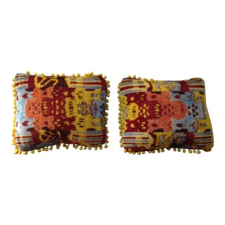Silk Velvet Moroccan Colorful Pillows - a Pair For Sale