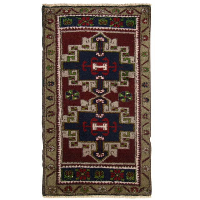 Vintage Geometric Turkish Yastik Rug - 1′9″ × 2′10″ - Image 1 of 2