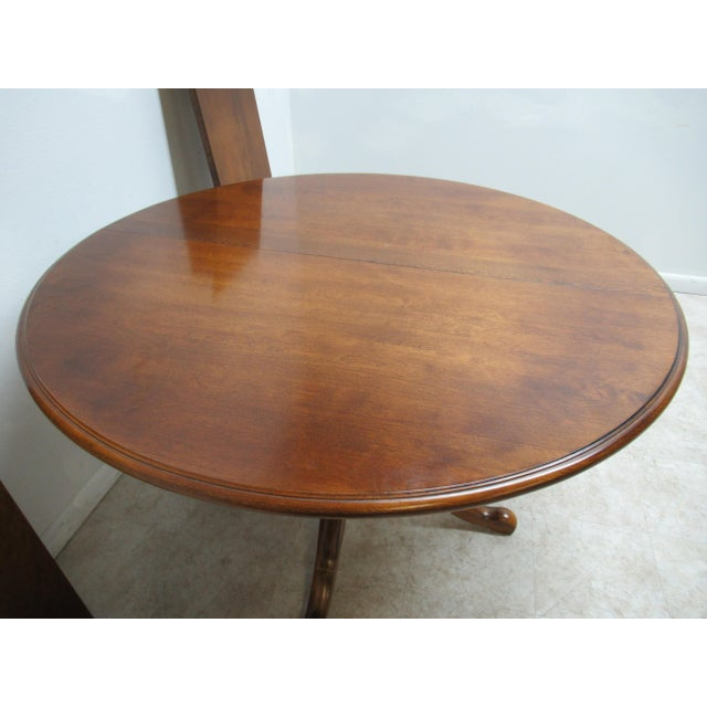 French Country Ethan Allen Pedestal Dining Room Table For Sale - Image 9 of 12