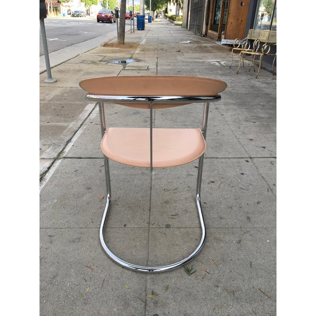 Arrben of Italy Chrome & Nude Leather Canasta Chair For Sale In Los Angeles - Image 6 of 9