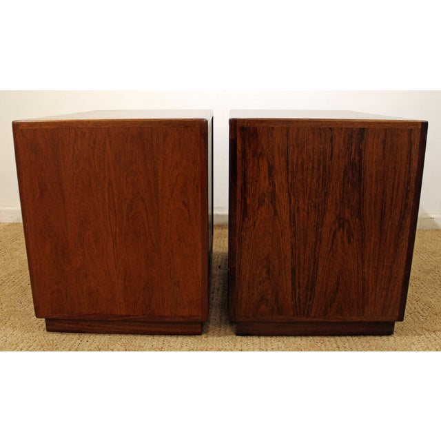 Mid-Century Danish Modern Milo Baughman Founders Walnut Burl Wood Nightstands - a Pair - Image 3 of 11
