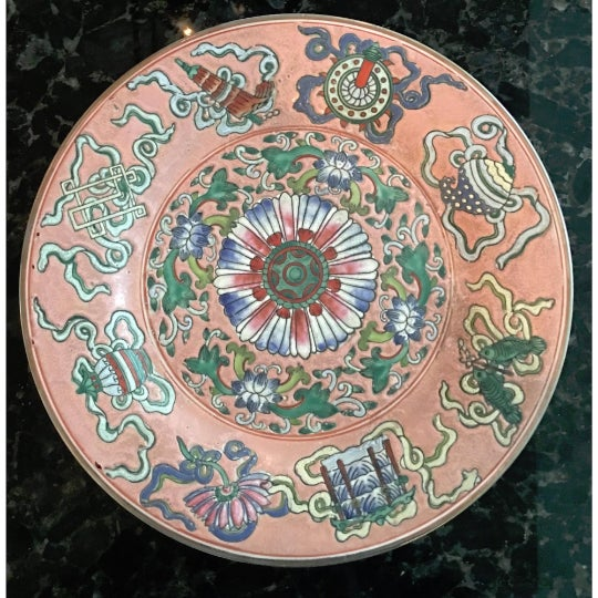 Vintage Chinoiserie Decorative Pink Porcelain Plate For Sale In Kansas City - Image 6 of 7