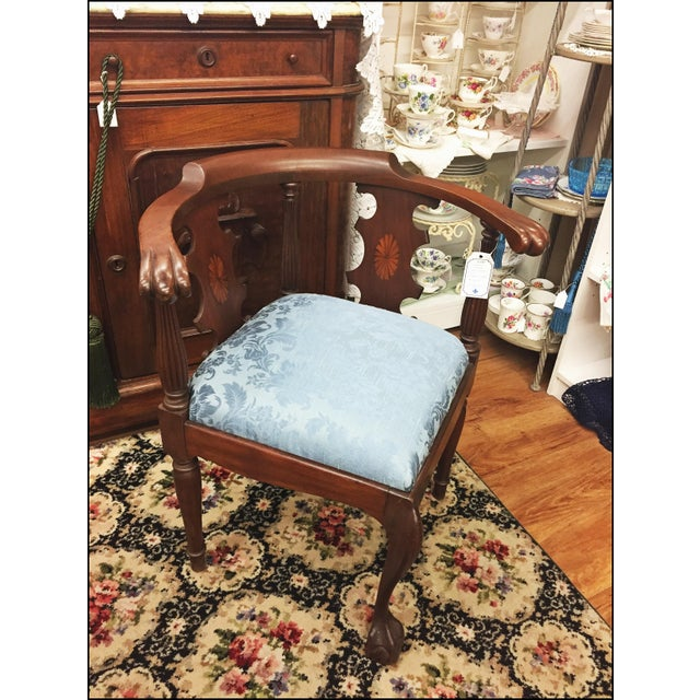 Victorian Ornate Wood Blue Corner Chair - Image 8 of 9