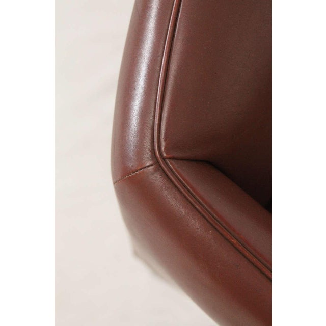 Brown Pair of Illum Wikkelso Leather Lounge Chairs For Sale - Image 8 of 9