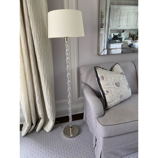 Fabulous Vaughan Twisted Glass Floor Lamp with Nickel Base and Custom Off-White Linen Drum Lampshade. Nickel Ball Finial.