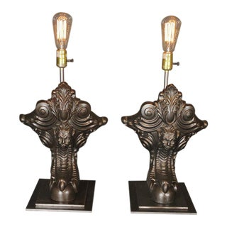 Repurposed Antique French Bathtub Claw Feet Lamps - A Pair For Sale