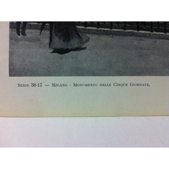 "Realism Circa 1930 ""Monumento Delle Cinque Gi "" Print of Milano Italy For Sale - Image 3 of 4"