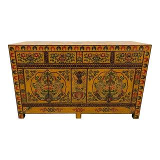 Vintage Tibetan Yellow Painted Sideboard For Sale