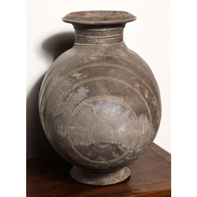 Western Han Dynasty Terracotta Cocoon Jar with Incised Bands from China For Sale In New York - Image 6 of 8