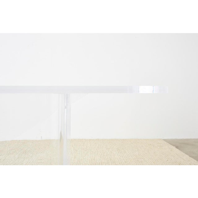 Modern Monumental Italian Moderne Sculptural Lucite Dining Table For Sale - Image 3 of 13