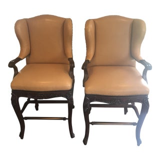 Frontgate Wingback Leather Barstools- a Pair
