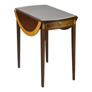 Custom Quality Mahogany Inlaid Federal Style Drop Leaf Pembroke Table
