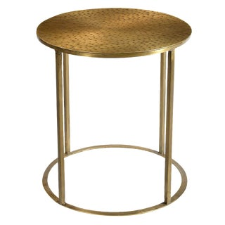 Modern Hammered Brass Side Table