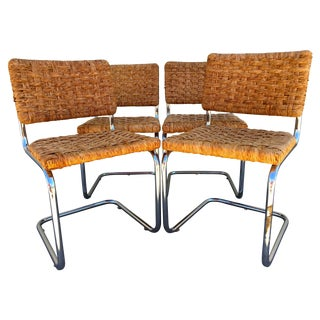 Vintage Wicker & Chrome Dining Chairs - Set of 4 For Sale