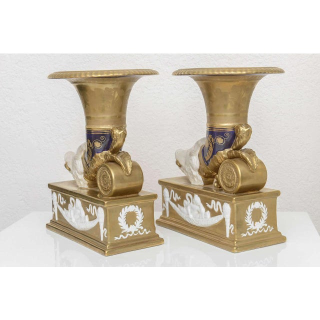 Metal Neo-Classic Style Cornucopia With Boars: Dresden, Germany, 19th C. - a Pair For Sale - Image 7 of 11