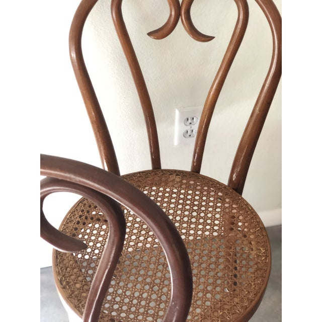 Thonet Vintage Thonet Sweetheart Bentwood Cane Bistro Cafe Chairs--Set of 4 For Sale - Image 4 of 9