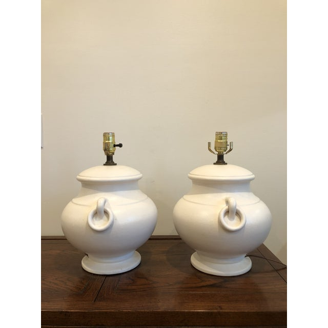Mid-Century Ceramic Urn Amphora Form Lamps - A Pair For Sale - Image 5 of 7