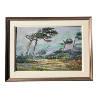 Vintage Large Oil Painting of Carmel For Sale