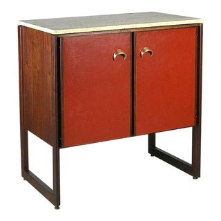 1960's Sideboard Commode by Jens Risom Credenza in Rosewood Walnut Travertine For Sale