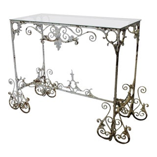 Antique French Decorative Iron Garden Console Table