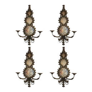 Pair of Mirrored and Metal Candle Sconces For Sale