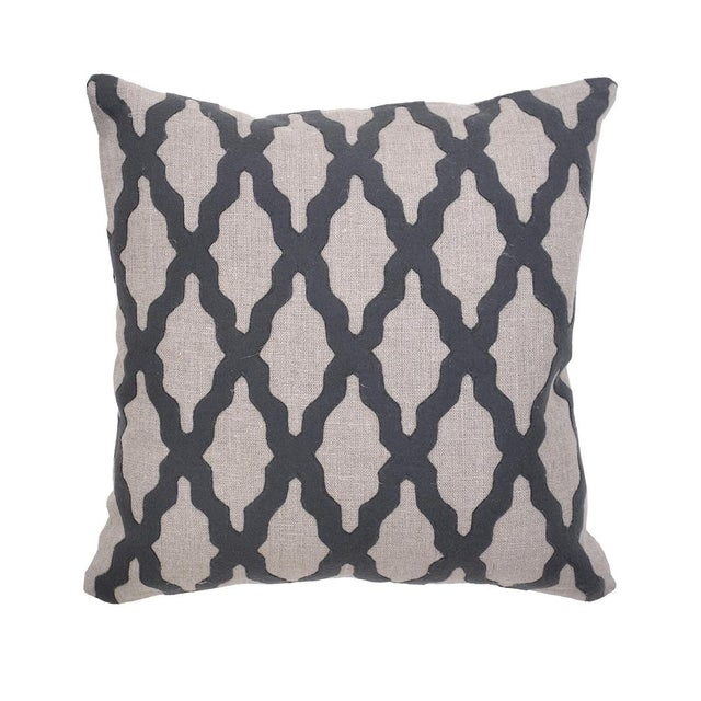 """Charcoal felt in an elegant design on a classic beige linen pillow with a down insert. 18"""" x 18""""."""