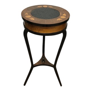 Round Inlaid Glass Top Empire Style Side Table For Sale