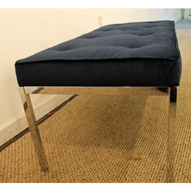 Blue Milo Baughman Style Mid-Century Modern Blue Chrome Bench For Sale - Image 8 of 11