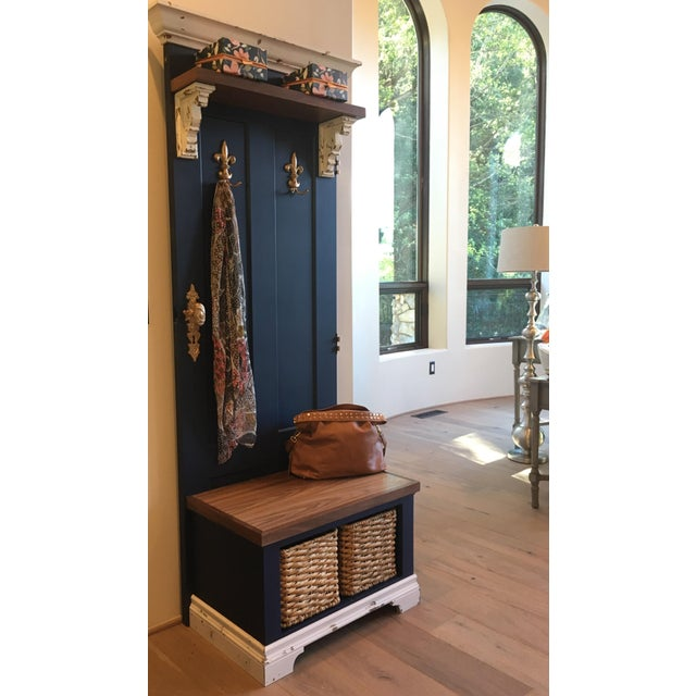 Vintage Entry Bench Door and Storage - Image 2 of 8