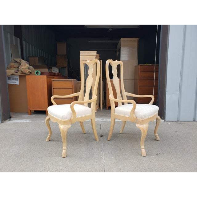 Tan Vintage Drexel Burled Olive & Ash High Back Dining Chairs-Set of 8 For Sale - Image 8 of 11