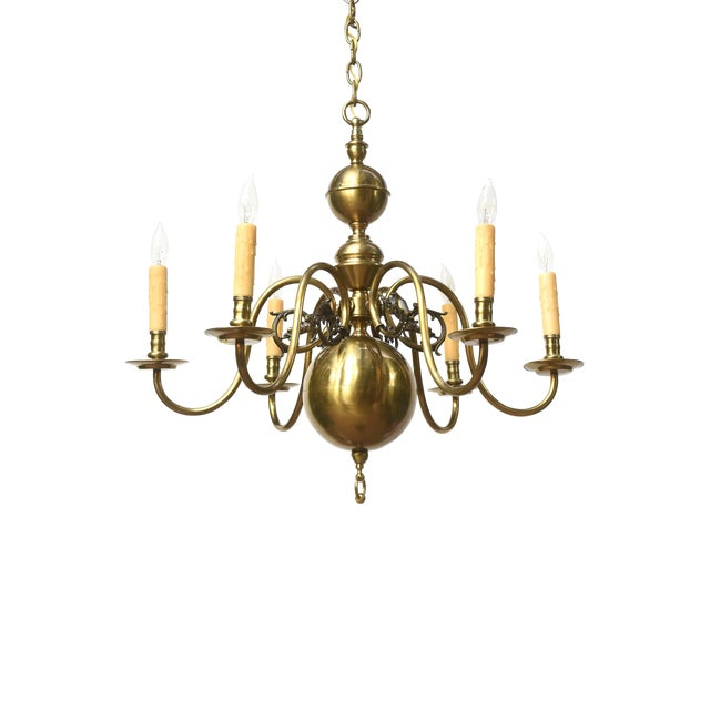Six Arm Continental Colonial Chandelier For Sale
