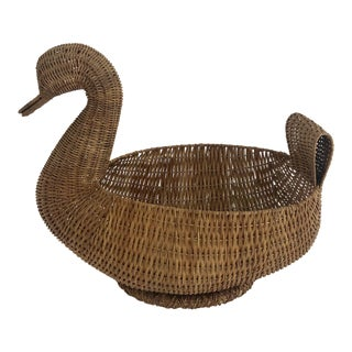 Vintage French Wicker Duck Basket For Sale