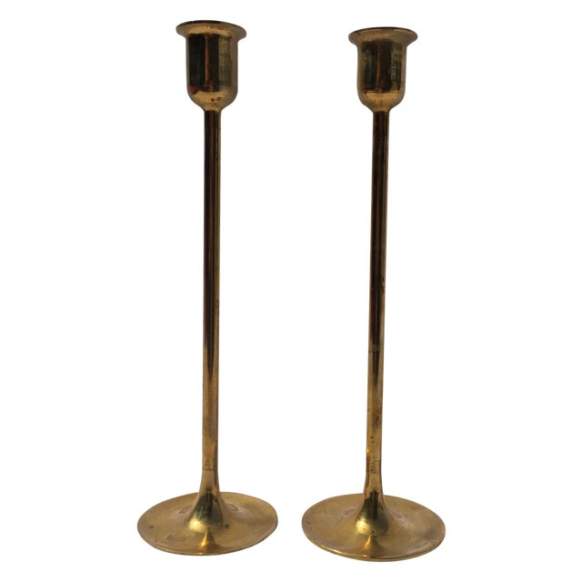 Midcentury Modern Tall Brass Candlesticks - Image 1 of 7