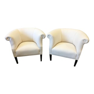 Italian Mid-Century Linen Club Chairs - a Pair For Sale