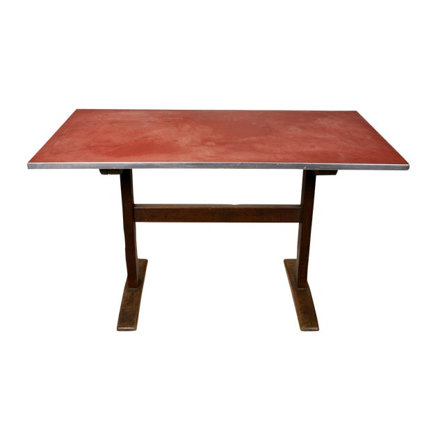 1930s Vintage Rustic Linoleum-Top Wood Base Trestle Desk/Table For Sale